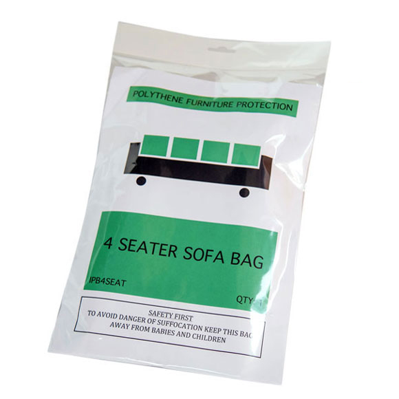 Clear Polythene 4-Seat Sofa Dust Cover Protection Storage Bags