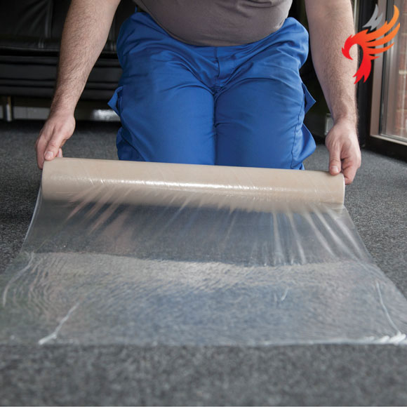 Clear Polythene Carpet Protector Film, self adhesive 25m x 60cm