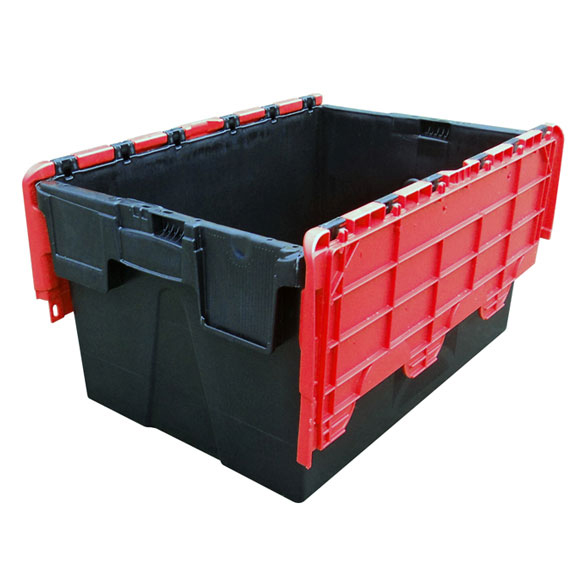 Plastic Storage Removal Crate, 62 litres, Red & Black